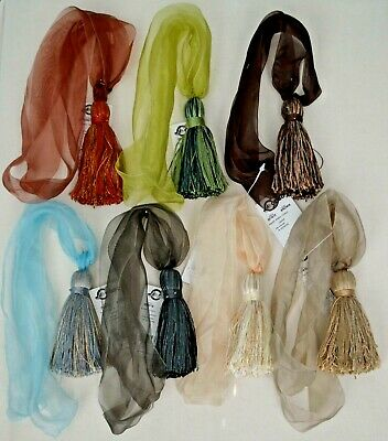 "Curtain/Chair Tie Back- Organza- 26""spread w/ 4""tassel- 9 Bright colors"