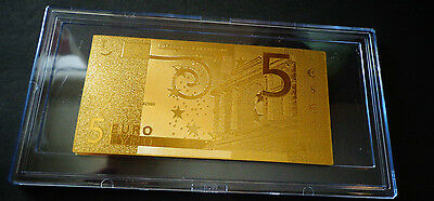 24 KT *GOLD € 5 EURO*European Union MONEY 2002 *GIFT BILL COMES IN ACYLIC HOLDER