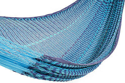 Mexican Hammock Cotton Deluxe Blue Theme Thicker Thread Jumbo Size Outdoor
