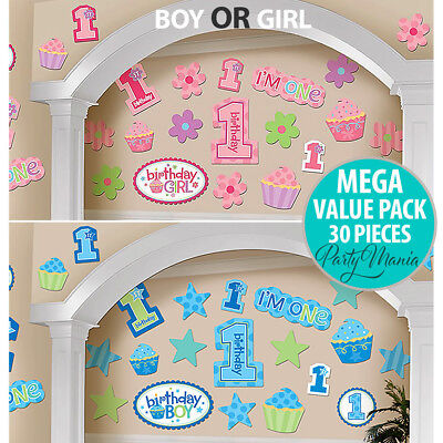 Boy Or Girl First 1St Birthday Party Supplies Decorations Cutouts ~ Pack Of 30