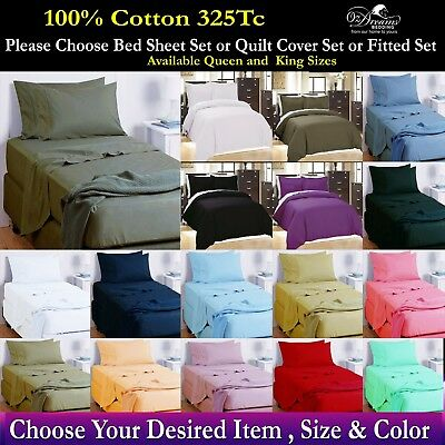 NEW 100% PURE COTTON QUEEN or KING BED SHEET Set - QUILT COVER Set - FITTED Set