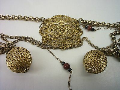 """Vintage Filigreed Gold Finish Chain Belt, With Beads 30"""" Inches, Unique And Rare"""