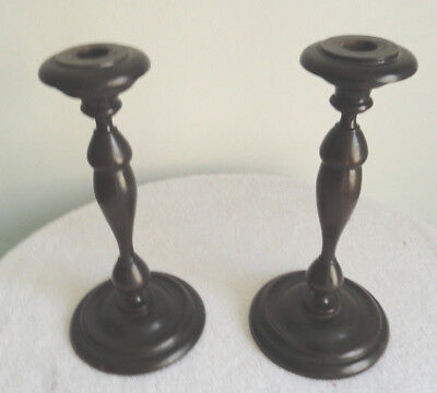 Pr of Original Vintage Mahogany Wood Turned Candle Holders: Brass insets; 1940's