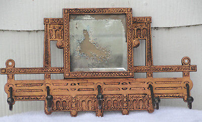 Ornate VIctorian Cast Iron Mirror Rack with 5 Coat/Hat Hangers: Late 1800's;VGC