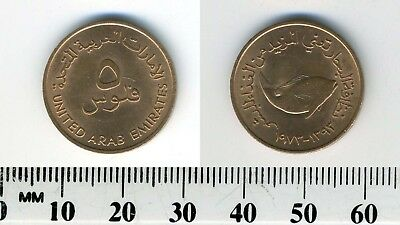 United Arab Emirates 1973 (1393) - 5 Fils Bronze Coin - Fish - F.A.O.