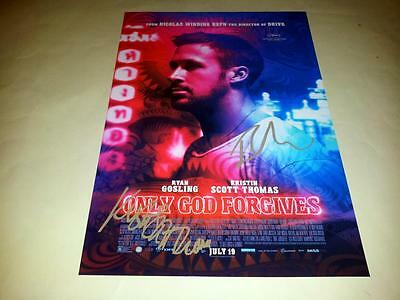 "Only God Forgives Cast X2 Pp Signed 12""x8"" Poster Ryan Gosling"