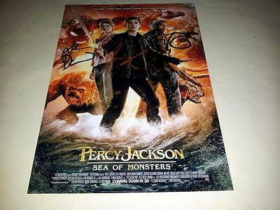 "Percy Jackson 2 Sea Of Monsters Cast X2 Pp Signed 12""x8"" Poster Logan Lerman"
