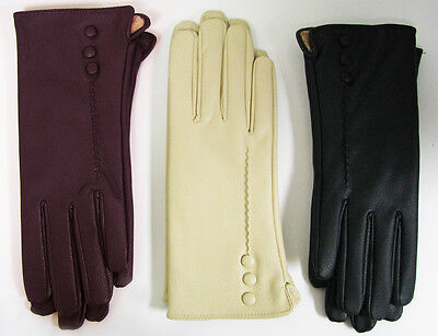 New Women's Gloves Faux Leather Fashion Winter Insulated Fleece Button Size: M L