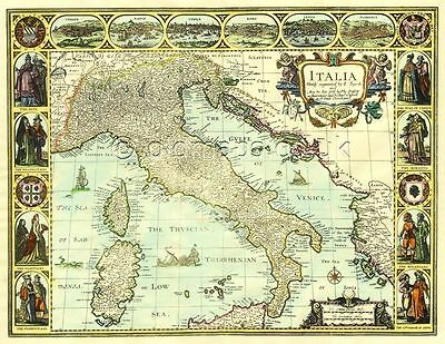 ITALY John Speed 17c. Old Map FULL SIZE PRINTED COPY  A UNIQUE GIFT IDEA!