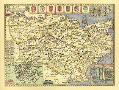 Kent Rochester Replica Old John Speed Map c1610. -- A Great Gift! ALL HAND COLOR