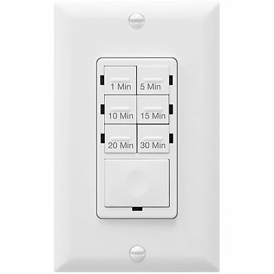 Digital Electrical Wall LED Countdown Timer Light Switch Fan 30 Minutes White