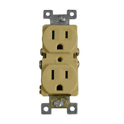 100/PK Duplex Receptacles 15A/125V Outlet, 5-15R Ivory Plug, Self Grounding