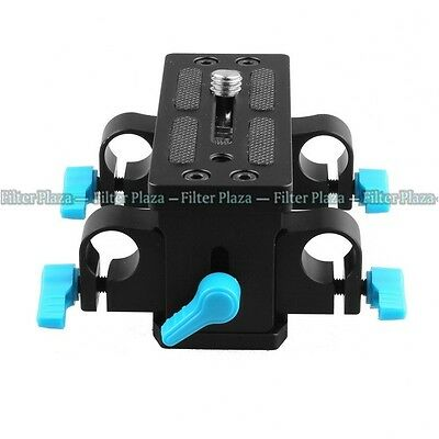 FOTGA Tripod Mount 15mm Rod Support Base Plate for Rail DSLR Rig Follow Focus FF