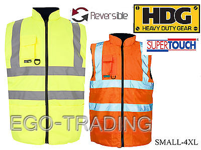 High Vis Safety Reversible Warm Padded Body Warmers, Work Waistcoats RRP £25!!!