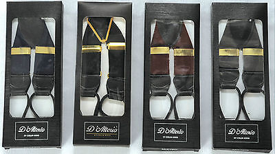 FREE POST Mens 35mm Leather End Braces Wine/Navy/Grey BNIB