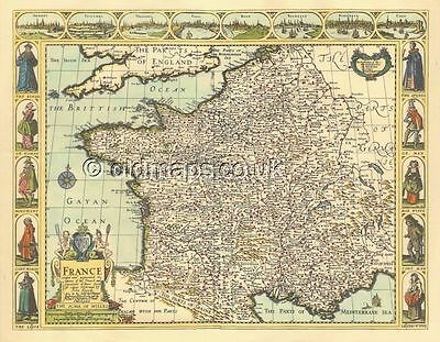 France Replica Old John Speed c.1676 Map Full Size Print Copy UNIQUE FRENCH GIFT