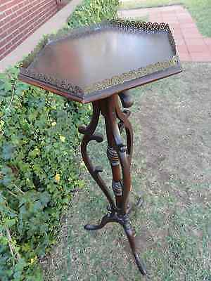 "Vintage Mahogany Plant Stand: 41""H: Hexagon Brass Gallery: Ornate Design"