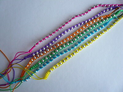 2 x Pretty Girls Cotton Silver Coloured Beads Wristband/Anklet Hippy BoHo ~ 99p
