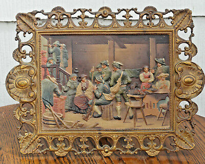c. 1880's Bradley and  Hubbard Cold Painted Plaque: Easel Back /Wall Hung; #1818