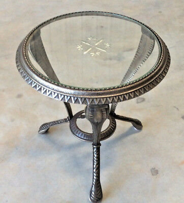 Table: Antique Silver Art Deco Cast Iron  with Etched Glass Top: c. 1925-1950