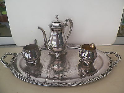 MINT ONEIDA 4 PIECE SILVERPLATE COFFEE/TEA SERVICE LARGE TRAY*NO RESERVE