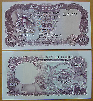 Uganda Paper Money 20 Shillings 1966 UNC