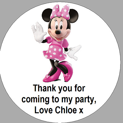 24 x 40mm Personalised Round Labels Stickers Minnie Mouse Pink Party ThankYou