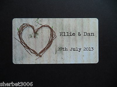 65 x Personalised Mini Stickers Wedding Shabby Vintage Rustic Heart Favour Label