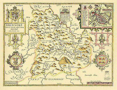 Breconshire Brecknock Replica J. Speed Map c.1610 Full Size Print  UNIQUE GIFT