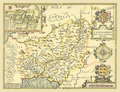 Carmarthenshire Replica Old J. Speed Old Map 1610 ALL HAND COLOURED Unique GIFT