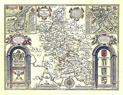 Buckinghamshire Reading / Buckingham Replica 1610  Speed Map  ALL Hand Coloured.