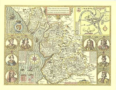 Lancashire Framed Replica John Speed Old map 1610 ALL HAND COLOURED A Gift
