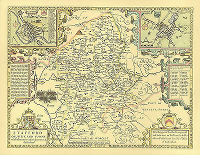 STAFFORDSHIRE Mounted & Framed Replica 17c John Speed Old map ALL hand coloured