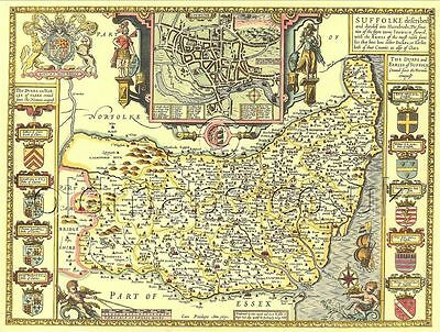 Suffolk Replica Old  Speed map c.1610 Full Size Printed Copy Unique gift idea!!