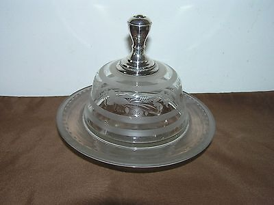 Antique Chrystal Butter Dish With Solid Silver Top.