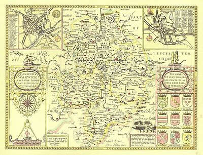 WARWICKSHIRE Framed & Mounted Replica 1610  Old  map ALL HAND COLOURED A Gift