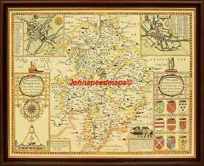 WARWICKSHIRE Warwick Framed Replica 17c.J.Speed  Old map hand coloured A Gift?