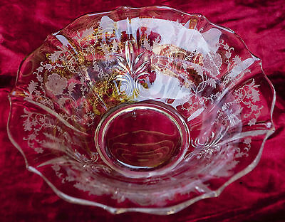 "Vintage Fostoria ""Shirley"" Etched Baroque 11 Inch Flared Bowl Centerpiece"