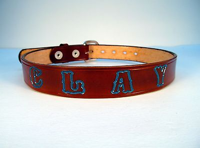 Children's Leather Belt Personalized with a Name, Phrase, Team, School,  or Etc.