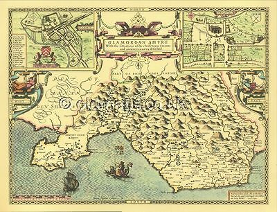 Glamorgan Cardiff  Map. ALL Hand coloured Framed John Speed Old Map GREAT GIFT