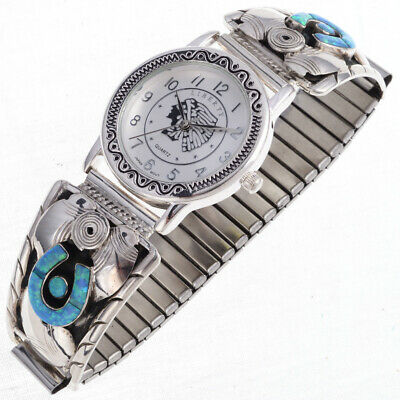 Blue Opal Inlaid Sterling Silver Mens Southwest Watch.