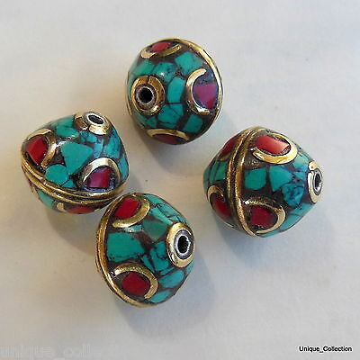 BD-118 Tibetan Ethnic Tribal Natural Turquoise Coral Jewelery Beads  From Nepal