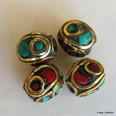 BD-120 Nepalese Tibetan Ethnic Tribal Natural Turquoise Coral Jewelery Beads