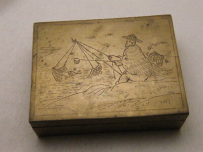 Box Trinket Pill Bronze Brass Chased Fishing Old Antique China Asian Vintage