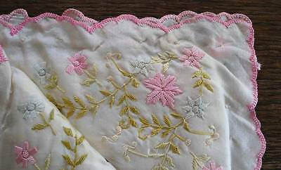 Antique Silk Hanky Case Hand Embroidered Birds Pink Ribbons Flowers