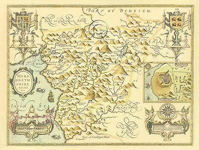 Merionethshire Full Size PRINTED 17c Replica  COPY Speed Old Map A Great Gift!