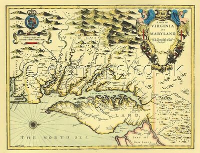 Virginia & Maryland Replica John Speed  17c Old Map Full Size Printed Copy