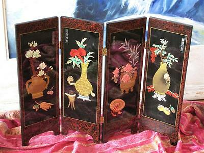 Miniature Chinese Lacquered Screen