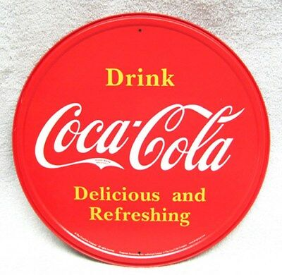 Drink Coca-Cola Round Metal Sign, New!