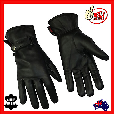 Womens Ladies Leather Motorcycle Motorbike Gloves Riding New Black Soft